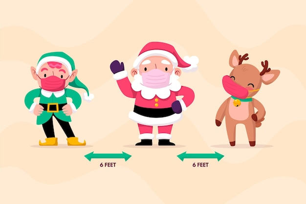 Special christmas characters social distancing