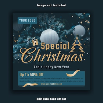 Special christmas and happy new year social media banner template