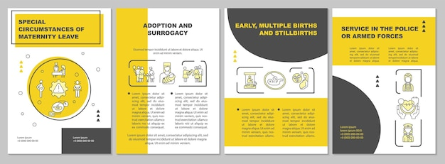 産休の特別な状況は黄色のパンフレットテンプレートを残します。チラシ、小冊子、リーフレットプリント、線形アイコンのカバーデザイン。プレゼンテーション、年次報告書、広告ページのベクターレイアウト