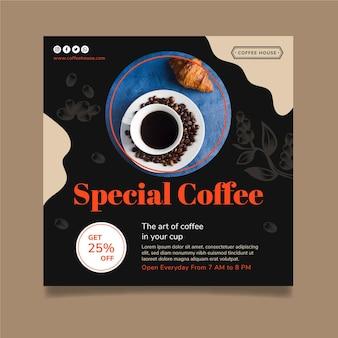 Шаблон флаера со специальным кофе в квадрате