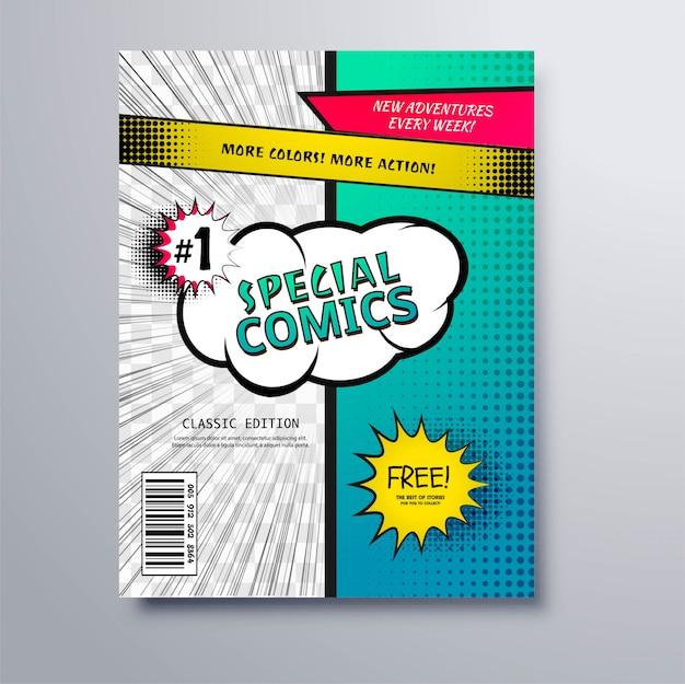 Special comic book cover template design