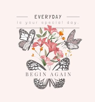 蝶と色とりどりの花のイラストと特別な日のスローガン