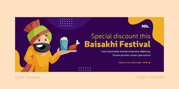 Baisakhi 축제 페이스 북 커버 디자인 템플릿 특별 할인