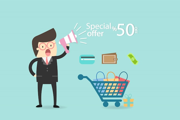 Special discount shopping online business concept.