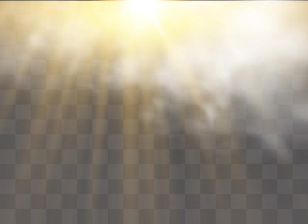 霧や煙で特殊効果が際立ちます。白い雲、霧またはスモッグ。太陽の光。