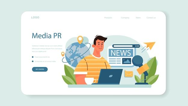 Веб-баннер или целевая страница для специального мероприятия. организация медиа-перформанса как маркетинговая кампания по продвижению бизнеса. организация мероприятий, общение с заказчиком. плоские векторные иллюстрации