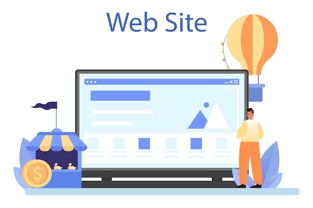 Онлайн-сервис или платформа для специальных мероприятий. развлекательная деятельность как маркетинговая кампания по продвижению бизнеса. веб-сайт. плоские векторные иллюстрации