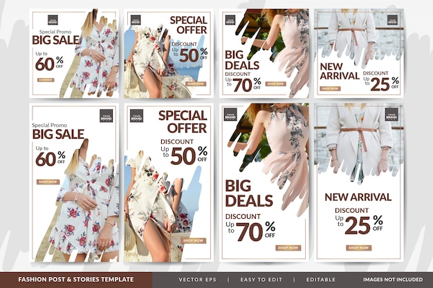 Special fashion sale social media post and stories  template