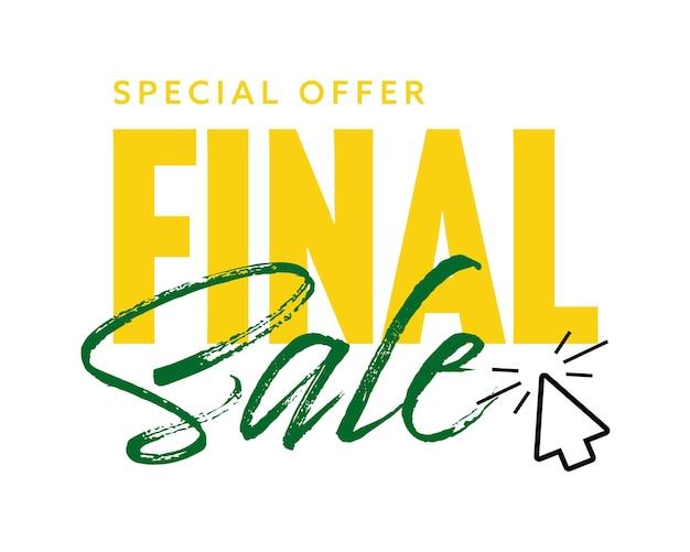 마우스 커서가 있는 특별 최종 판매 프로모션 텍스트 배지. 스티커, 라벨, 흰색 배경에 고립 된 할인 광고 벡터 일러스트와 함께 온라인 쇼핑을위한 포스터 디자인 요소