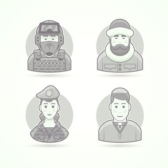 Special forces man, polar explorer, woman soldier, chursch priest. set of character, avatar and person  illustrations.  black and white outlined style.