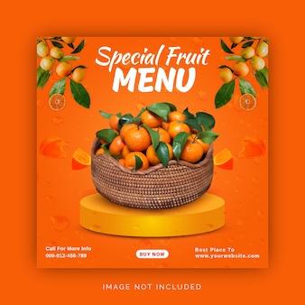 Специальное фруктовое меню instagram ad social media banner template