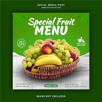 Special fruit menu social media post template