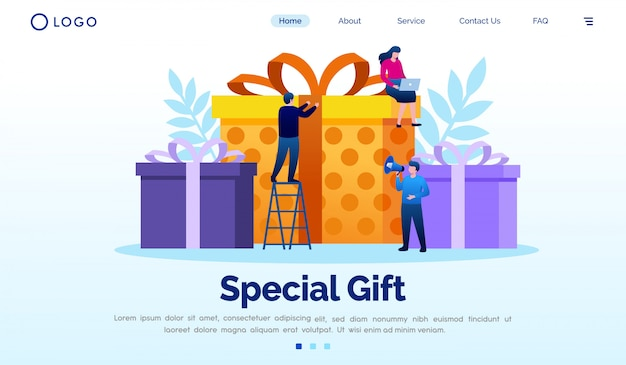 Special gift landing page website flat template