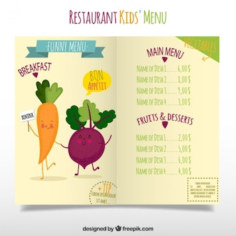 Special kids menu with food characters