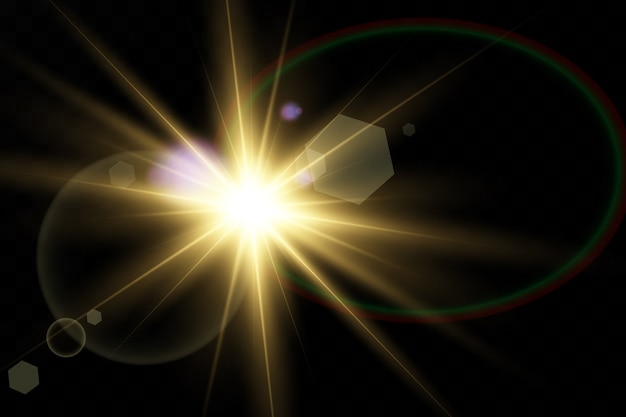 Special lens flare light effect. transparent shining sun, bright flash.