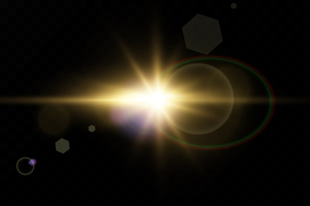 Special lens flare light effect.transparent shining sun, bright flash.