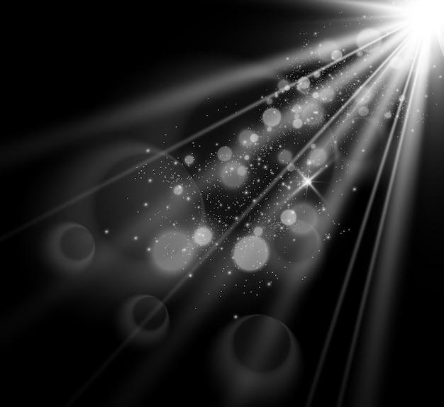 特殊レンズフラッシュ、ライト効果。美しい星光線からの光。