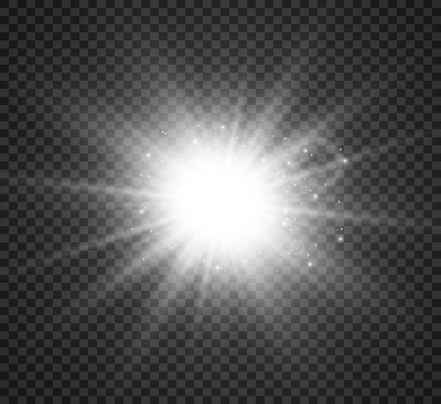 Special lens flash light effect the flash flashes rays and searchlight illustwhite glowing light