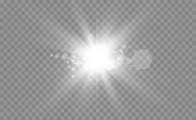 Special lens flash light effect the flash flashes rays and searchlight illustwhite glowing