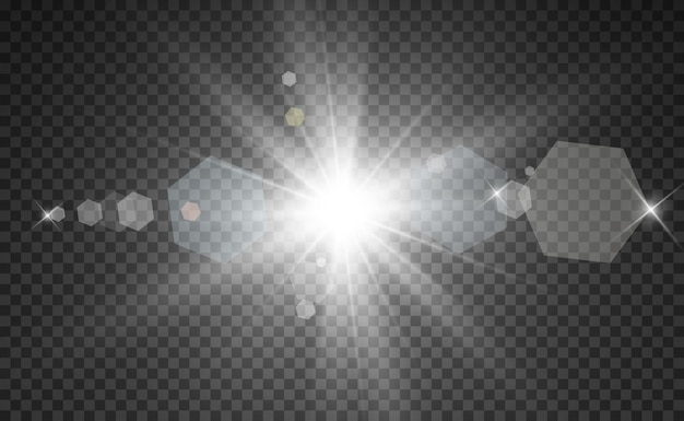 Special lens flash, light effect. the flash flashes rays and searchlight.