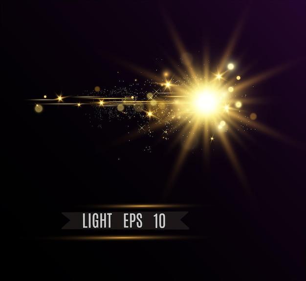 特殊レンズフラッシュ、ライト効果。日光。グレア