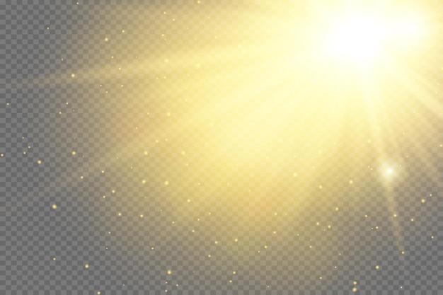 특수 렌즈 플래시, 조명 효과. 플래시는 광선과 탐조등을 깜박입니다. illust.white 빛나는 빛. 광선에서 아름 다운 스타 빛입니다. 태양은 백라이트입니다. 밝고 아름다운 별. 햇빛. 섬광.