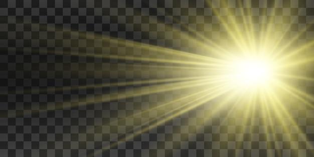 특수 렌즈 플래시, 조명 효과. 플래시가 광선과 탐조등을 깜박입니다. illust. 흰색 빛나는 빛. 아름 다운 별 광선에서 빛입니다. 태양은 백라이트입니다. 밝고 아름다운 별. 햇빛. 섬광.