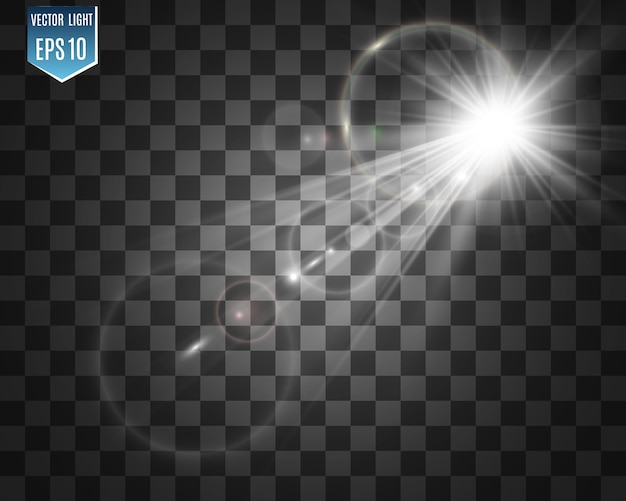 特殊レンズフラッシュ、光の効果。フラッシュは光線とサーチライトを点滅させます。 illust。白い輝く光。光線から美しい星の光。太陽は逆光です。明るく美しい星。日光。グレア。