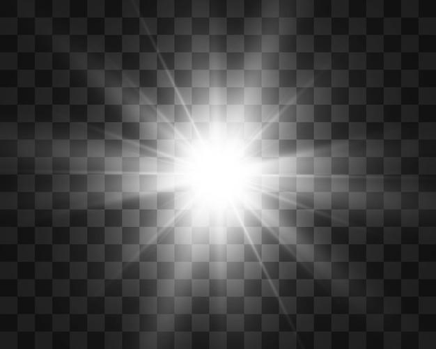 Специальная вспышка объектива, световой эффект. вспышка мигает лучами и прожектором. illust. белый светящийся свет. красивая звезда свет от лучей. солнце подсвечивается. яркая красивая звезда. солнечный свет. блик.