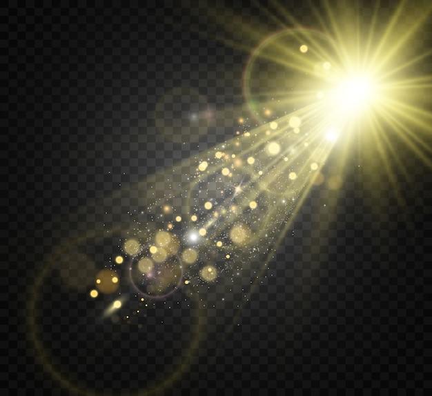 특수 렌즈 플래시, 조명 효과. 플래시는 광선과 탐조등을 깜박입니다. illust. 흰색 빛나는 빛. 광선에서 아름 다운 별 빛입니다. 태양이 역광입니다. 밝고 아름다운 별. 햇빛. 섬광.