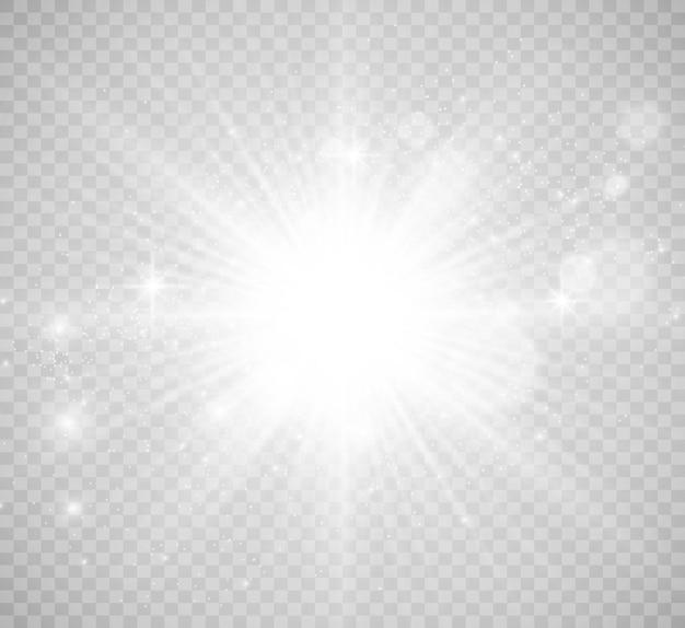 特殊レンズフラッシュ、ライト効果。フラッシュは光線とサーチライトを点滅させます。 illust。白く光る光。美しい星光線からの光。太陽は逆光です。明るく美しい星。日光。グレア。