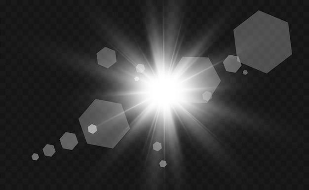 특수 렌즈 플래시, 조명 효과. 플래시는 광선과 탐조등을 깜박입니다. illust. 흰색 빛나는 빛