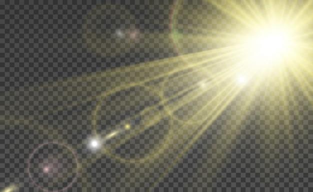 Специальная линзовая вспышка, световой эффект. вспышка мигает лучами и прожектором.