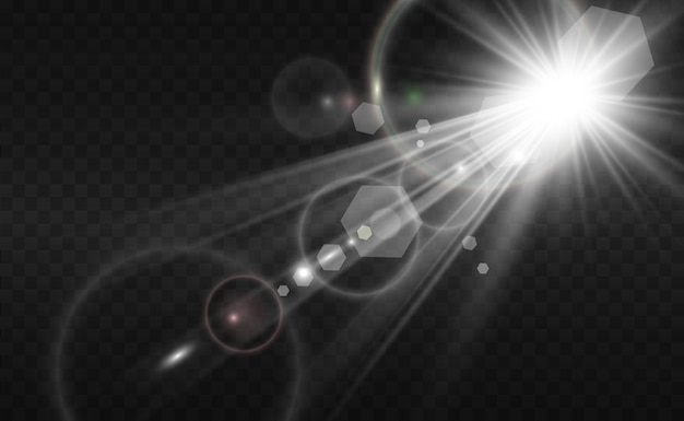 Специальная вспышка объектива, световой эффект. вспышка высвечивает лучи и прожектор.