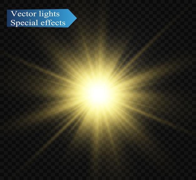 특수 렌즈 플래시, 조명 효과. 플래시는 광선과 탐조등을 깜박입니다.