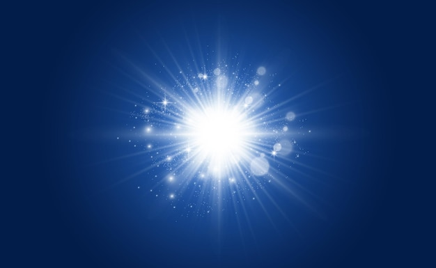 特殊レンズフラッシュ、ライト効果。フラッシュは光線とサーチライトを点滅させます。