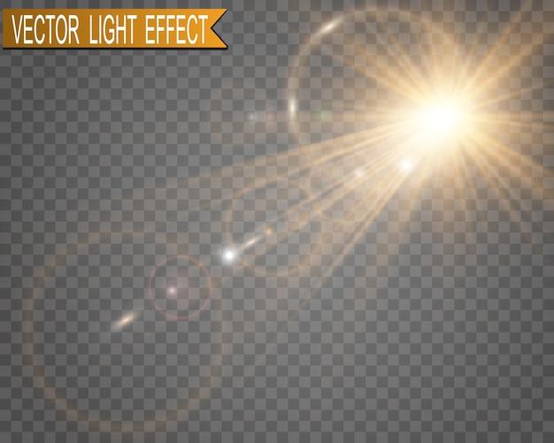 特殊レンズフラッシュ、光の効果。白い輝く光。日光。グレア。