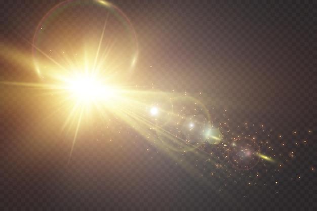 투명한 배경에 눈부심의 특수 조명 효과