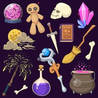 特別な魔法効果トリックシンボル魔術師の杖と驚きエンターテイメントファンタジーカーニバルミステリーツール漫画奇跡の装飾。