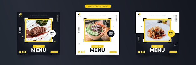 Special menu food social media promotion and banner post design template collection