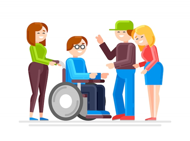 Special needs child with friends