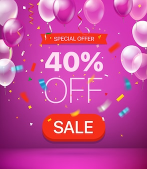 Special offer 40 percent off banner