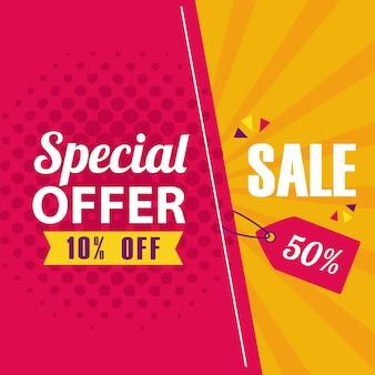 Специальное предложение и дизайн баннера продажи, продажа предложения покупки и иллюстрация темы скидки