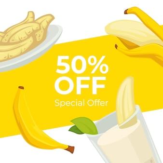 Special offer on banana desserts in cafe banner