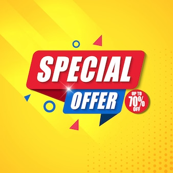 Special offer banner design template with yellow background