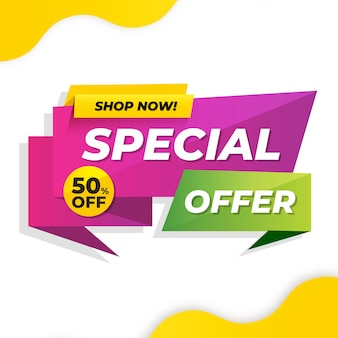 Special offer banner in origami style