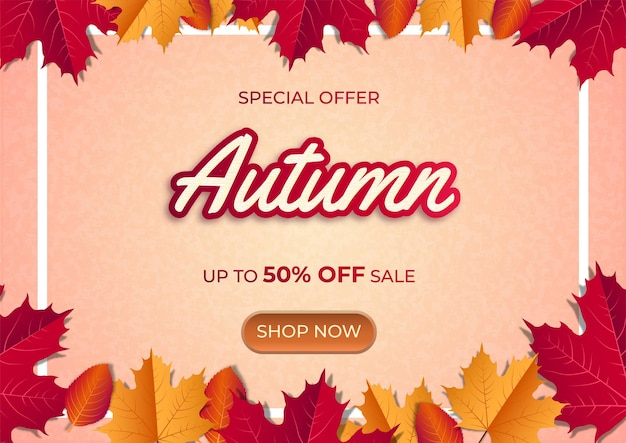 Special offer banner with maple leaves on gradient background