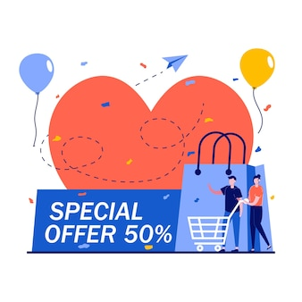 Special offer big sale promotional valentine's day concept