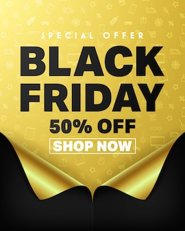 Special offer black friday 50% off and shop now poster