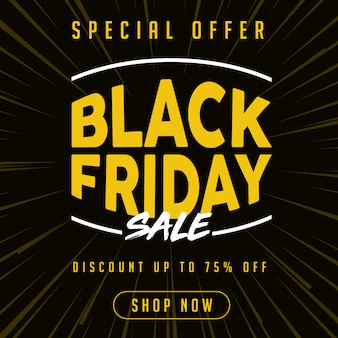 Special offer black friday sale banner in yellow